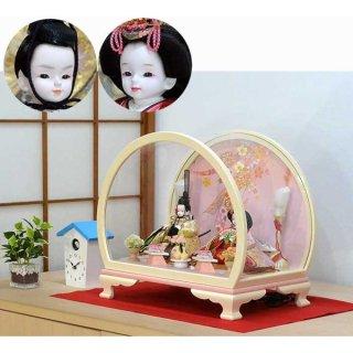 プリンセス雛人形 グラデーションピンク親王ケース飾りセット