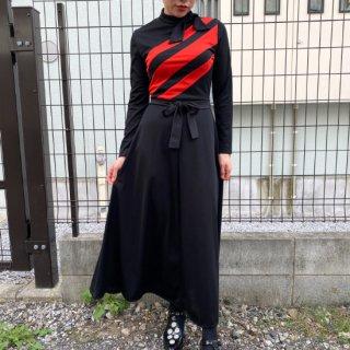 Side Tie Neck Red Line Long Dress