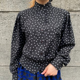 Stand Collar Dot Blouse