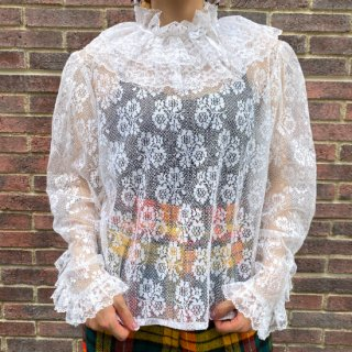 White Lace Frill Collar Blouse