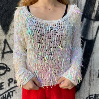 <img class='new_mark_img1' src='https://img.shop-pro.jp/img/new/icons14.gif' style='border:none;display:inline;margin:0px;padding:0px;width:auto;' />Feather Spangle Mesh Knit Top