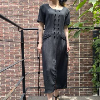 Black Double Button Line Dress