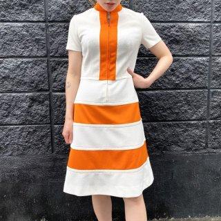 60s Orange and White Dress