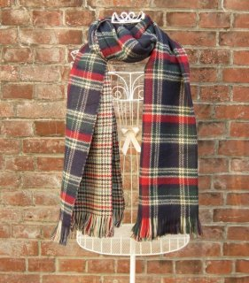 TheDelight REVERSIBLE CHECK & TIDORI STOLE GREEN&BEIGE
