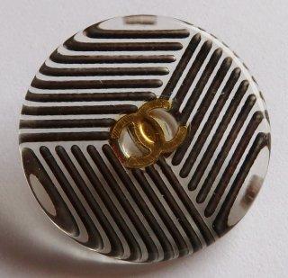 515 CHANEL VINTAGE (シャネル ヴィンテージ) COCOマーク ストライプ クリア ボタン ブラウン