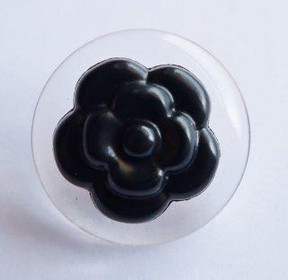 580-1 CHANEL VINTAGE(シャネル ヴィンテージ)カメリアマーク デザイン  ボタン ブラック