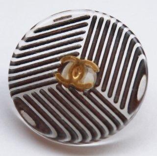 595-1 CHANEL VINTAGE(シャネル ヴィンテージ)COCOマーク デザイン  ボタン クリア ブラック