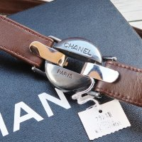 CHANEL VINTAGE(シャネル ヴィンテージ)ロゴ ラウンドバックル ウエストマーク ベルト ブラウン