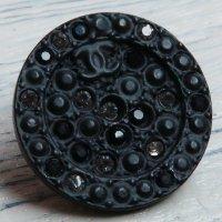 725-1 CHANEL(ヴィンテージ シャネル) COCOマーク ビジュー ボタン ブラック