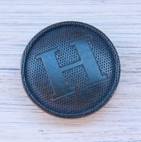 768-1 HERMES VINTAGE (エルメス ヴィンテージ)H マーク ボタン ネイビー