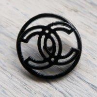 817 CHANEL(ヴィンテージ シャネル) COCOマーク デザイン ボタン ブラック