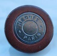 826 HERMES(ヴィンテージ エルメス)レザー トリミング セリエ マーク ボタン シルバー×ブラウン