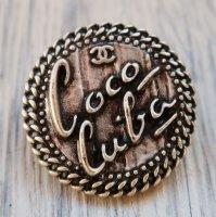 833-1 CHANEL(ヴィンテージ シャネル) COCO cubaロゴ デザイン ボタン シルバー