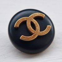 835 CHANEL(ヴィンテージ シャネル) COCO マーク デザイン ボタン ブラック