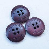 890 CHANEL(ヴィンテージ シャネル)CHANEL PARIS ロゴ ボタン ブラウン 3点セット