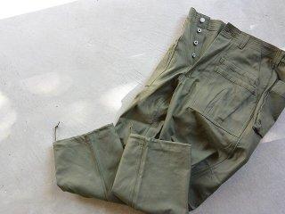 SASSAFRAS ササフラス / Overgrown Fatigue Pants back satin olive
