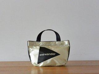 and wander アンド ワンダー / logo tote bag small CORDURA white