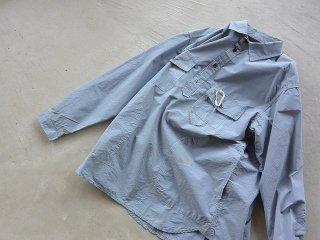 and wander アンド ワンダー / CORDURA typewriter long sleeve over shirt blue