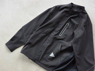 and wander アンド ワンダー / tech long sleeve band collar shirt black