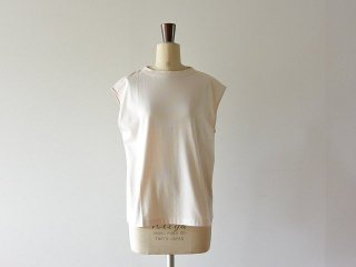 handvaerk ハンドバーク / 60/2 Bottle Neck No Sleeve T-Shirt Heavenly Pink