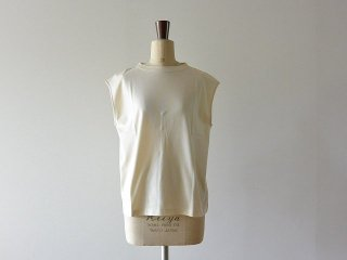 handvaerk ハンドバーク / 60/2 Bottle Neck No Sleeve T-Shirt Heavenly Ivory