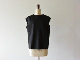 handvaerk ハンドバーク / 60/2 Bottle Neck No Sleeve T-Shirt Black