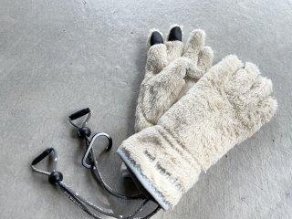 and wander アンドワンダー / high loft fleece glove off white