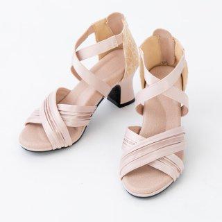 エレガントマジック 快適で歩きやすい履き心地 脚を美しく魅せる ルイヒールサンダル ベージュ