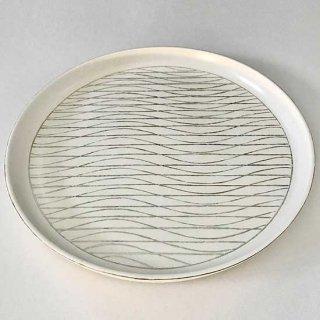 銀彩幾何文丸皿