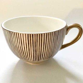 金彩栗色縞文ティーカップ