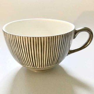 プラチナ彩淡墨縞文ティーカップ