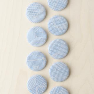 福田利之さんイラスト 福島の刺子織 ブローチ(ライトブルー)